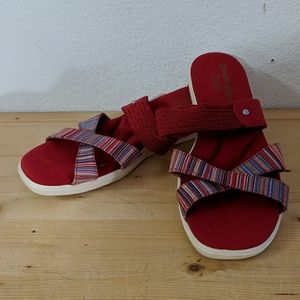 GRASSHOPPER Ortholite Red Striped Slip On Sandals